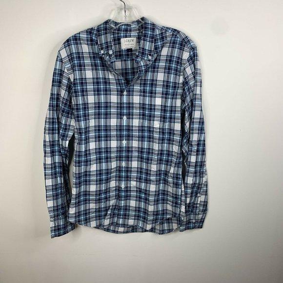 J Crew Madras Mens S Blue/White Plaid Long Sleeve Button Up Shirt
